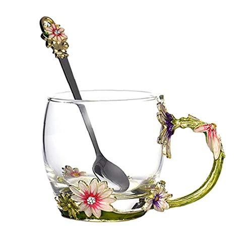 Copa de té de cristal esmalte de café con la cuchara delicado regalo para la esposa, mamá, muchacha en el Día de San Valentín, Día de la Madre, aniversario de boda verde segura, resistente al calor,