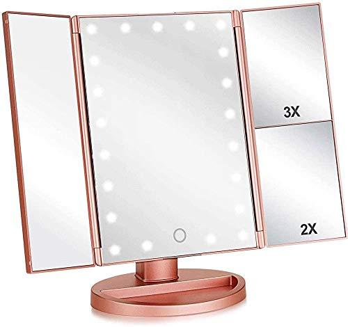 HXM-00 Espejo de maquillaje triple con luces, 21 luces y pantalla táctil 180 grados de cocina giratoria libremente encimutura de cocina espejo de maquillaje espejo de maquillaje de relleno espejo pleg