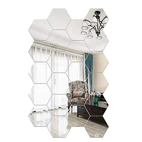 Zunbo 24 unidades Adhesivo de pared para espejo, acrílico, espejo, DIY, decoración de pared, espejo hexagonal, decoración para salón, dormitorio
