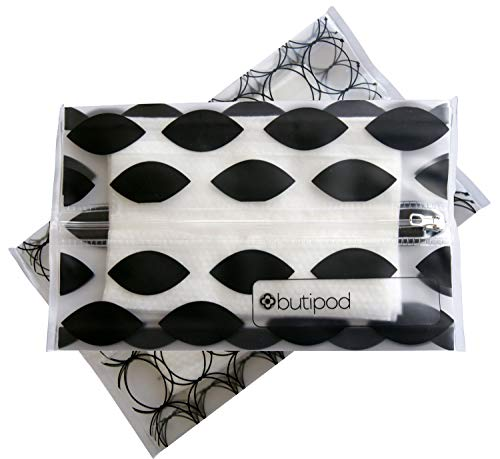 Butipods Reusable Wet Wipe Pouch Slim Case Travel Clutch Holder   Refillable Portable Baby Wipes Dispenser Container   Wipes Stay Moist   Great for Hand and Face Wipes, Set of 2 (Black Ovals & Rings)