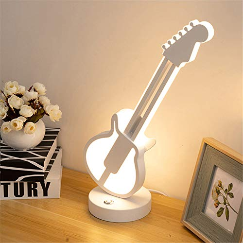 Lámpara De Mesa De Guitarra Creativa, Lámpara De Mesa De Guitarra LED Interruptor Táctil De Atenuación Tricolor Lámpara De Mesa Decorativa De Protección Ocular Lámpara De Mesa