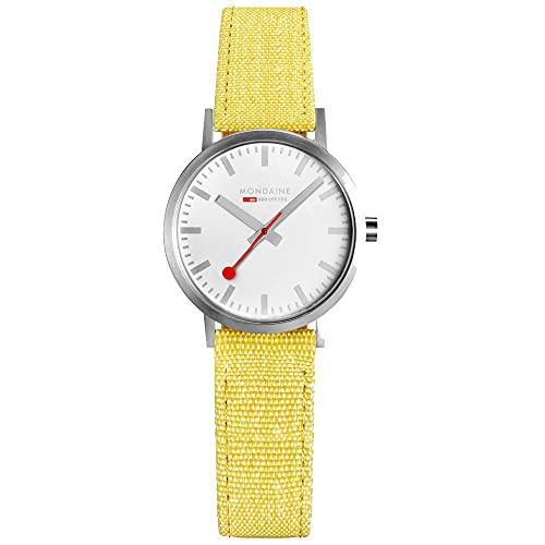 MONDAINE Movimiento de cuarzo clásico esfera blanca amarillo pulsera textil reloj para mujer A658.30323.17SBE