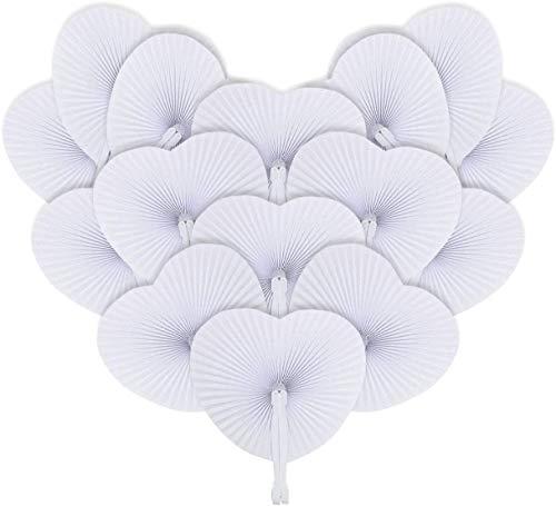 Abanico plegable de Papel Ventilador Mano para Invitados de Bodas Fiesta ocasiones de verano decoración DIY Blanc 24 UND