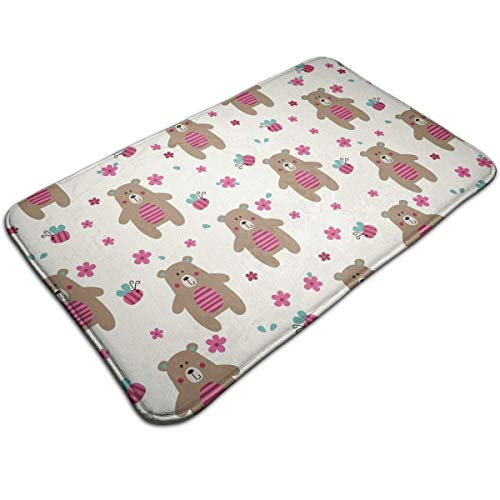Cute Bears and Bees Indoor/Outdoor Flat Made of 100% Polyester Extra Soft and Non Slip Area Rug for Bedroom, Kitchen, Living Room, Office, Playroom 40x60 cm