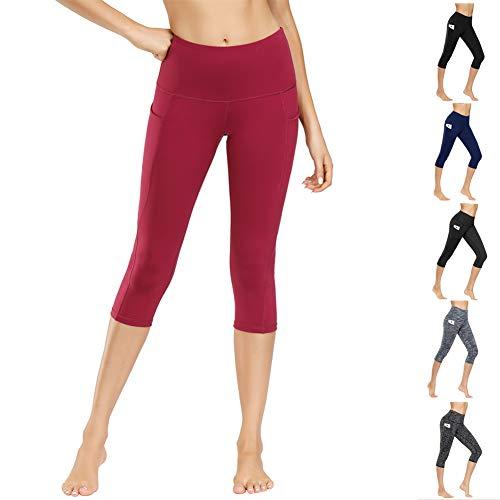 WateLves Leggings de Yoga para Mujer, Pantalones de Deporte, Mallas para Correr, Cintura Alta, con Bolsillos, elásticos, para Yoga, Deporte, Fitness, Todo el año, Mujer(Vino Tinto.FM-qf,l
