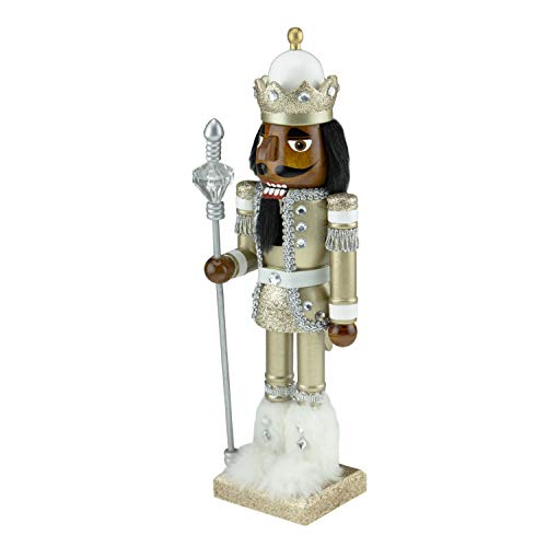 Clever Creations Traditional Wooden Collectible African American Soldier Nutcracker | Festive Christmas Decor | 14' Tall Perfect for Shelves and Tables