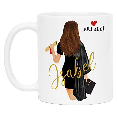 Kiddle-Design Bachelor Master Tasse 2021 zum Abschluss Geschenk mit Name Frau Absolventin Doktor Personalisierte Kaffeetasse