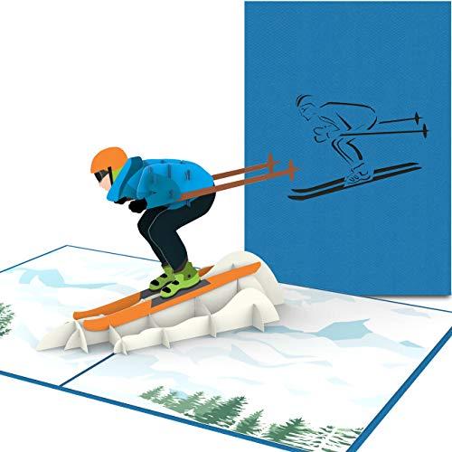 PaperCrush® Pop-Up Karte Skifahrer - Handgemachte Gutscheinkarte für Skifahren, Gutschein für Skiurlaub oder Skischuhe - Lustige Ski Geburtstagskarte inkl. Umschlag
