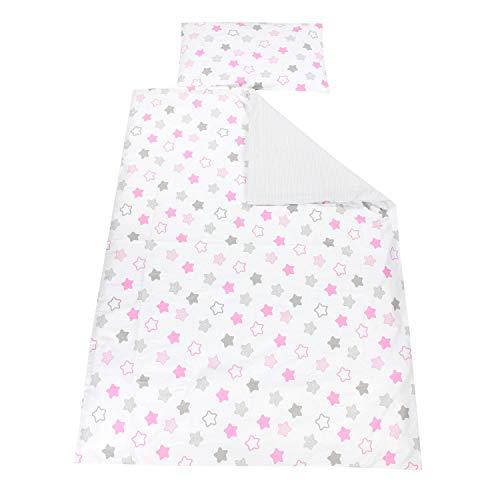 TupTam Kinder Bettwäsche Gemustert 2-Teilig, Farbe: Sterne Rosa/Grau, Größe: 135x100 cm