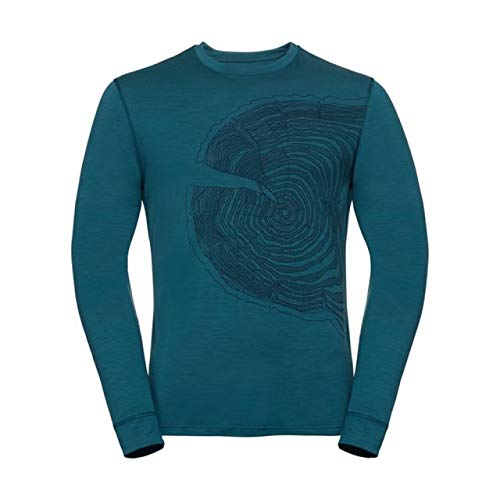 Odlo BL Top Crew Neck L/S Alliance Camiseta, otoño/Invierno, Hombre, Color Blue Coral - Tree Print FW18, tamaño XX-Large