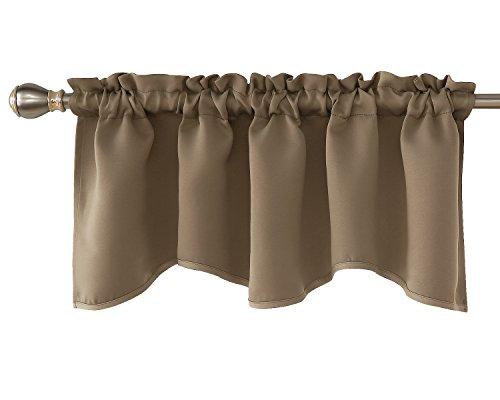 Deconovo Blackout Curtain Valances for Windows Solid Rod Pocket Scalloped Valance 42x18 Inch Khaki 1 Panel