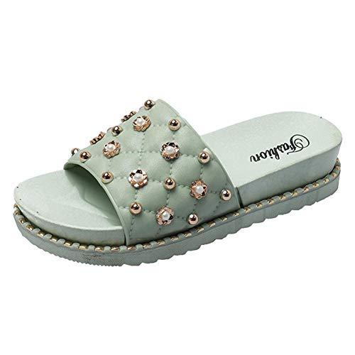 UXITX flip flop Dames Kralen Parel Boheemse Flat Casual Schoenen Voor Womens Badkamer Sandalen Slippers Binnen Outdoor Slippers