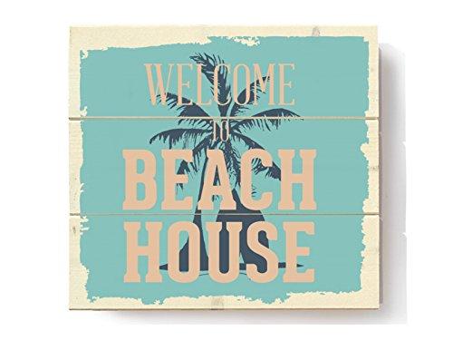 Interluxe HOLZBILD Naturholz Welcome to Beach House Holzschild Deko Shabby Geschenk Strand