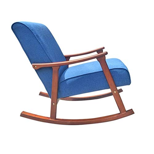 MOSHANG Single Sofa Rocking Chair, Seat Cushions Made Of Solid Wood Relax Lounge Chair-Blue 6219