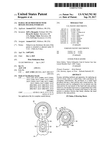 Radial head prosthesis with rotate-to-lock interface: United States Patent9763792 (English Edition)