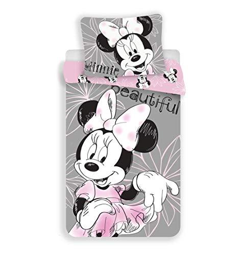 Unbekannt Disney Minnie Mouse Beautiful - Juego de cama reversible (140 x 200 cm, funda de almohada de 70 x 90 cm, 100% algodón), color gris y rosa