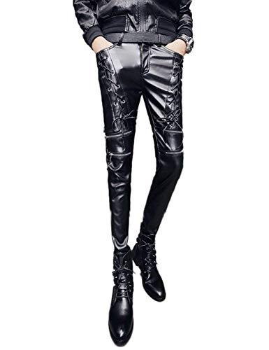 Pantalones De Cuero De Imitación De De Los Hombres Vintage Moda con Bolsillos Cross Straps Pantalones De Color Sólido Pantalones Casuales De Cuero (Color : Negro, Size : 36)