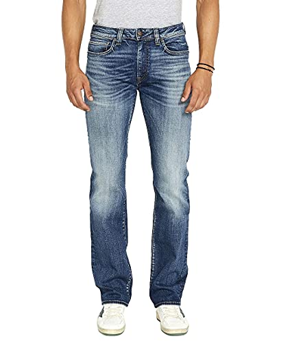 Buffalo David Bitton Men's Relaxed Straight Driven Jeans, Authentic and Sanded Indigo, 33W x 32L