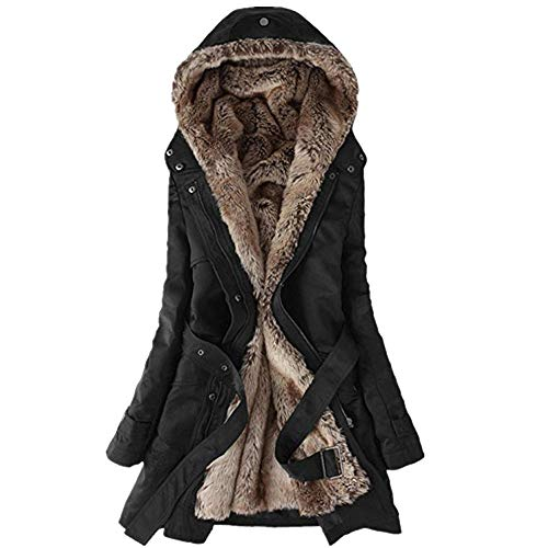 AMUSTER Damen Winter Jacke Parka lang Mantel Winterjacke Fell Kragen Damen Winterjacke Baumwolle Teddy Fell Military Style Cotton Parka Mantel