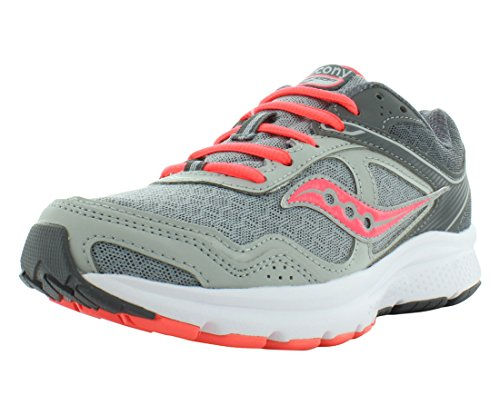 Saucony Women's Cohesion 10 Grey/Coral Running Shoe 9 M US
