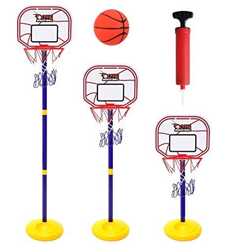 CYFIE Anhebbarer Basketballkorb Tragbarer Schießrahmen Indoor-Basketballkorb für Kinder im Freien anhebbarer stehender Basketballkorb mit Pumpe und Basketball
