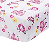 EVERYDAY KIDS Baby Girl Fitted Crib Sheet Princess Storyland, 100% Soft Microfiber, Breathable and Hypoallergenic Baby Sheet, Fits Standard Size Crib Mattress 28in x 52in, Nursery Sheet