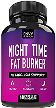 Night Time Fat Burner - Metabolism Support Appetite Suppressant and Weight Loss Diet Pills for Men and Women - 60 Capsules.