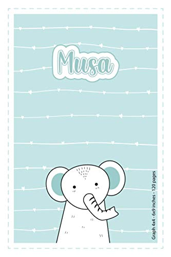 Musa: Personalized Name Squared Paper Notebook Light Blue Elephant | 6x9 inches | 120 pages: Notebook for drawing, writing notes, journaling, ... writing, school notes, and capturing ideas