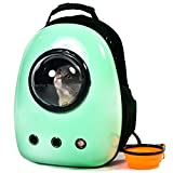 Scurrty Xpect Cat Carrier Bubble Backpack Small Dog Space Capsule Knapsack Pet Travel Bag Waterproof Breathable (Light Green)