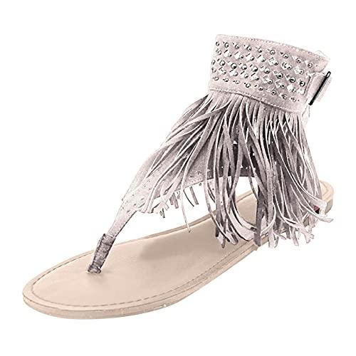 AIchenYW Sommer Damen Quaste Strass Schuhe Zehe Zehentrenner Flip Flops eben Hohle Schuhe Offener Zeh Strandschuhe Rutschfest Sommer