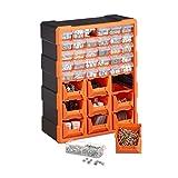 Relaxdays Kleinteilemagazin, Wandmontage, Werkstatt, groß, 39 Schubladen, Kunststoff, HBT: 47x38x16 cm, orange-schwarz
