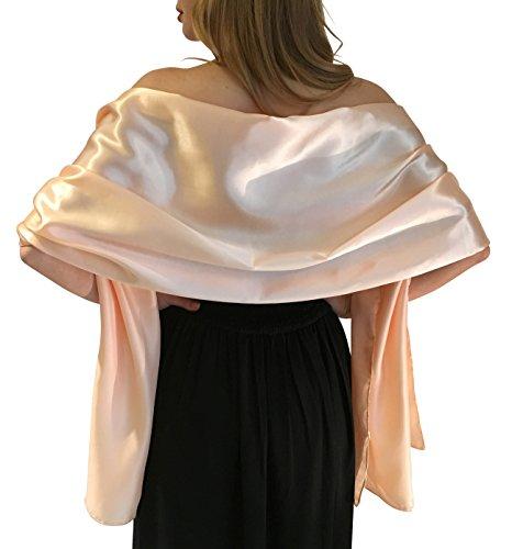 Central Chic Silky Satin stola dell'involucro dello scialle sciarpa Pashmina per la sposa damigelle in Avorio Bianco Nero Blu Argento Oro Rosa Grigio Verde (S-M, Rosa Nude)