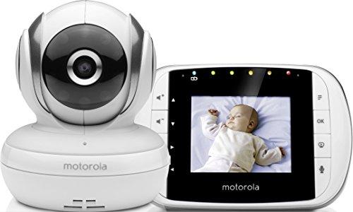 """Motorola Baby MBP 33S - Vigilabebés vídeo con pantalla LCD a color de 2.8"""", modo eco y visión nocturna, color blanco"""