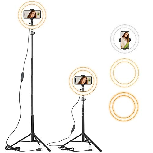 "Ring Light 10"" with 59"" Extendable Tripod Stand & Phone Holder for YouTube Video, Dimmable Led Ring Light for Camera, Video, Makeup, Selfie Photography Compatible with iPhone Android"