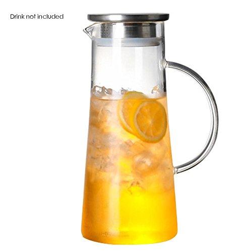 funihut waterkoker van glas, 1,5 l, karaf van glas, hittebestendig, glazen pot | theepot van borosilicaatglas, waterkoker met deksel van esdoornroestvrij staal