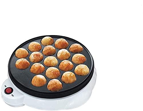 Nasole Wok Taubrier, Takoyaki Grill Pan, 18 Hoyos Recubrimiento Antiadherente, Takoyaki Maker Home Cooking Tools, 650W (Color : White)