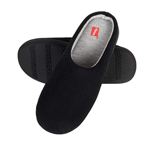 Hanes Women's Soft Waffle Knit Clog Slippers with Indoor/Outdoor Sole, Black, LG