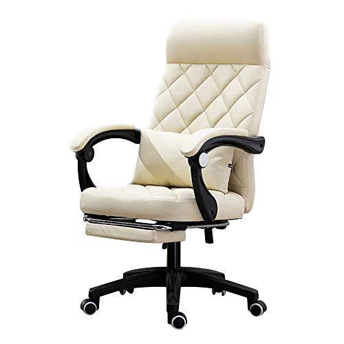 Massage Chair Silla para computadora Silla de Oficina Silla de Escritorio de Cuero giratoria Reclinable ergonómico con reposapiés Acolchado y cojín Lumbar Ajustable en Altura,Blanco