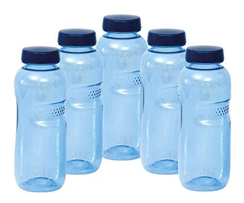 """5 X 0,5 Liter Trinkwasserflasche aus Tritan, mit """"Blüte des Lebens"""" - Symbol Aufdruck auf dem Trinkdeckel, 18 x 6 cm, Flasche gibt keine Schadstoffe ab (FDA Zulassung), und ist hervorragend geeignet um gefiltertes Wasser aufzubewahren; große Öffnung"""