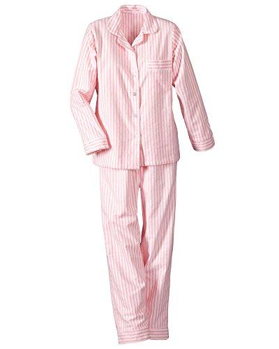 National Long Sleeve Flannel Pajamas, Pink, Petite Large