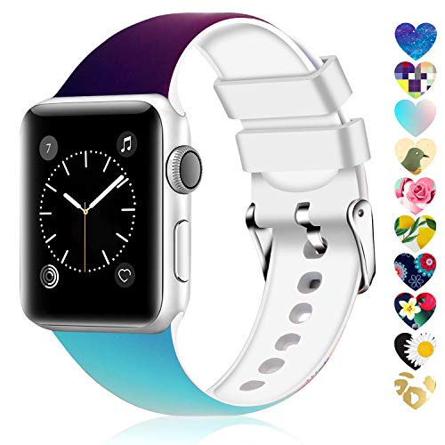 Moretek Colorful Band Compatible for Apple Watch 38mm 42mm 40mm 44mm,Soft Silicone Sport Replacement Strap for iWatch Series 5 4 3 2 1, Nike+, Edition Women Men (Flower 2, 38/40mm)