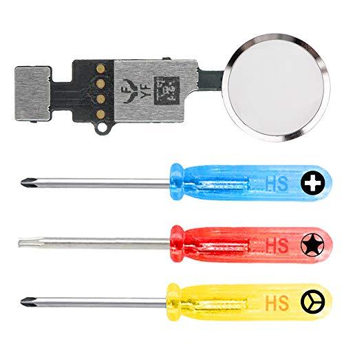 MMOBIEL Botón de Inicio Universal Compatible con iPhone SE 2020/8 / 8 Plus / 7/7 Plus (Blanco/Plata) 4.ª generación YF con función de actualización de restauración