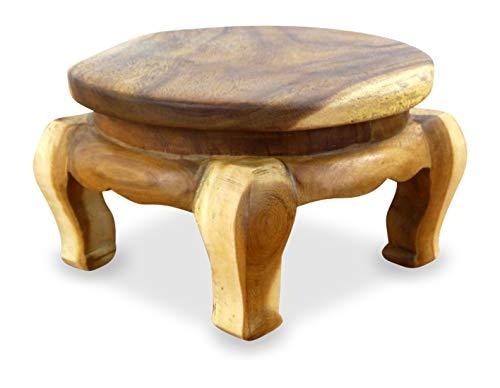livasia Runder Opiumtisch, Beistelltisch, Massivholztisch, Nachttisch, Podest