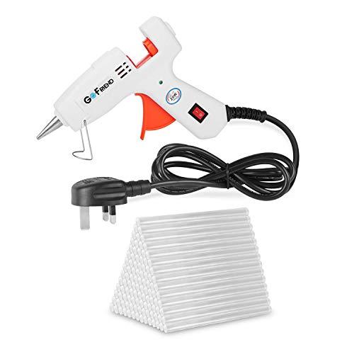 Mini Hot Melt Glue Gun, GoFriend 20-Watt Electric Glue Gun Aluminum Nozzle with 80 pcs Melt Glue Sticks(0.27 *5.9 inches) Heating DIY Craft Repair Kit