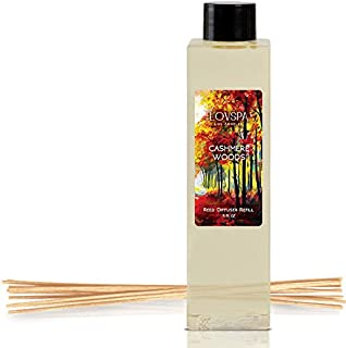 LOVSPA Cashmere Woods Reed Diffuser Oil Refill with Replacement Reed Sticks | Amber Mimosa, Vanilla Musk & Apricot Nectar | Scent for Kitchen or Bathroom, 4 oz | Made in The USA