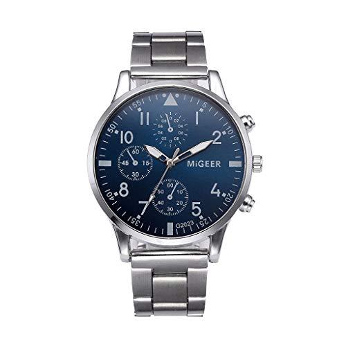 WoWer Herren Uhr Mode Wasserdicht Sport Analoger Quarz Uhr Beiläufig Schwarze Edelstahl Mesh Armbanduhr Maenner