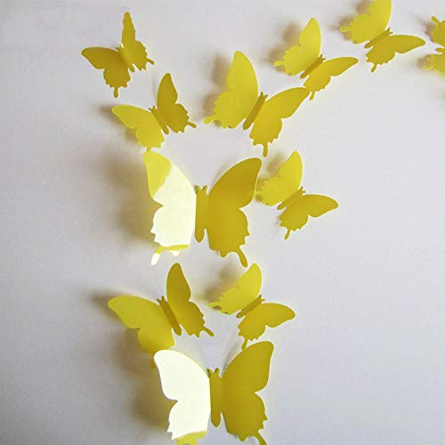 24pcs 3D Butterfly Removable Mural Stickers Wall Stickers Decal for Home and Room Decoration (Yellow)