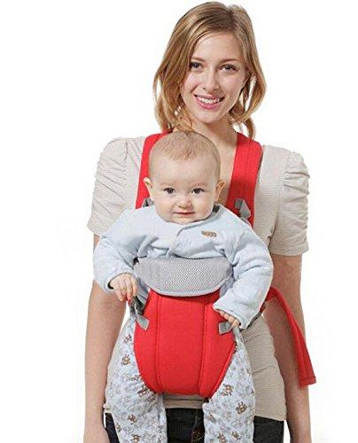 Hivel Respirable Fular Portabebes Portador de Bebe Front Back Baby Safety Carrier Infant Comfort Backpack Sling Wrap - Rojo