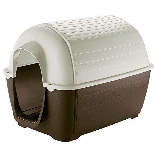 Ferplast Caseta de Exterior para Perros Kenny 07, Resina termoplástica Resistente a los Golpes y a los Rayos UV, Sistema de Drenaje de líquidos, Rejilla de ventilación, 80 x 111,6 x h 80 cm ✅