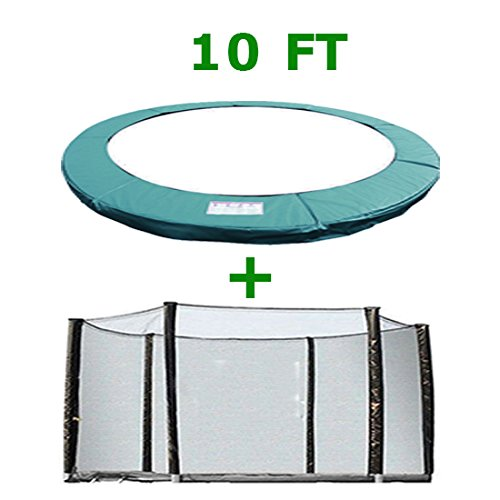 Greenbay Trampoline Replacement Safety Spring Cover Padding Pad + Safety Net Enclosure Surround Outside Netting 10 FT Foot Green for 6 poles Trampoline